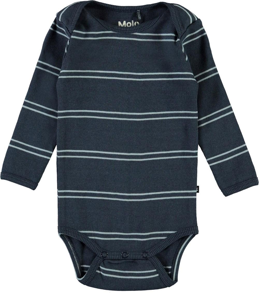 Faros - Blue Stripes - Blue striped organic baby bodysuit