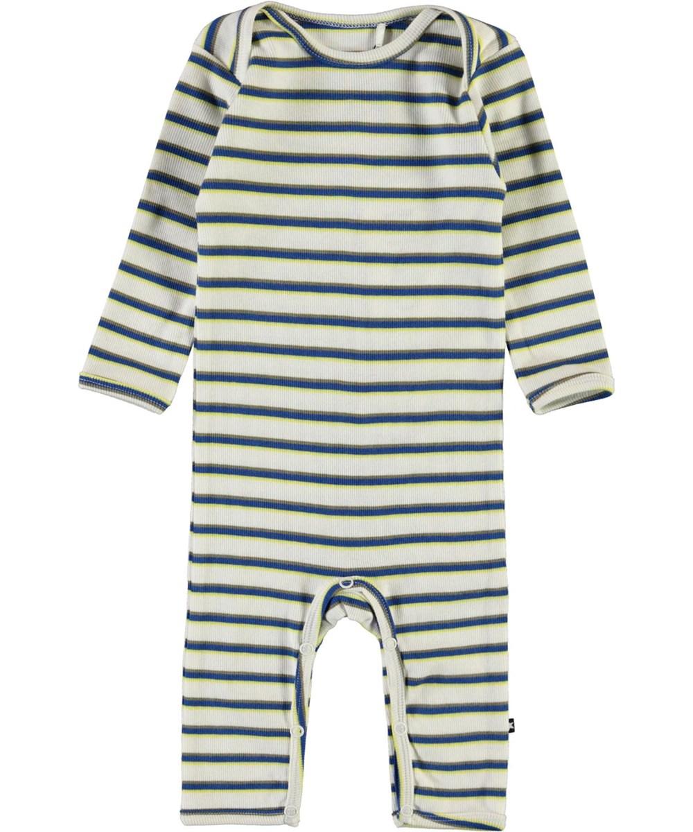 Faso - 4 Colour Stripe - White striped organic baby bodysuit