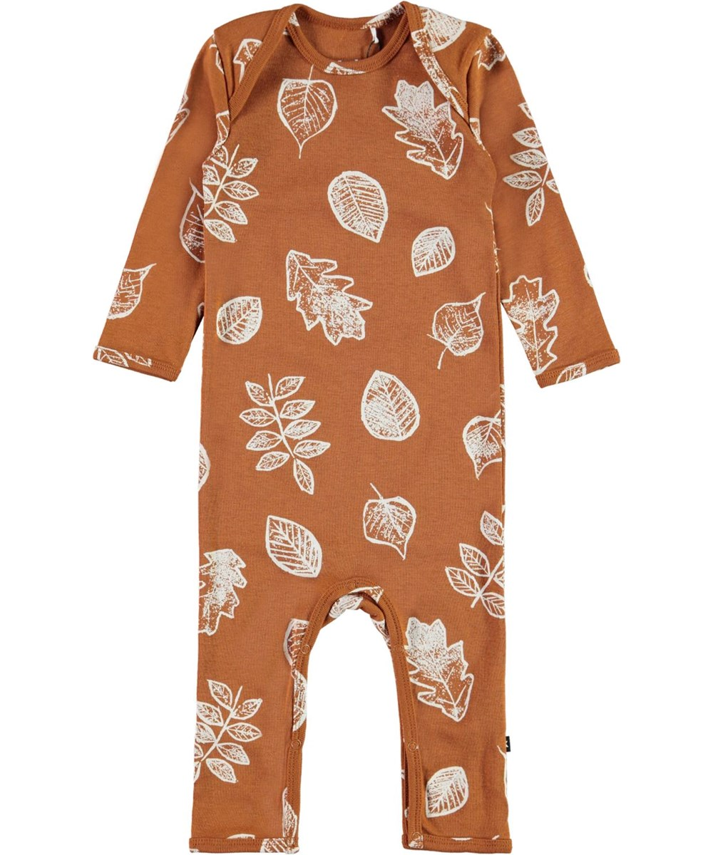 Faso - Leaves - Brown organic baby bodysuit with leaves