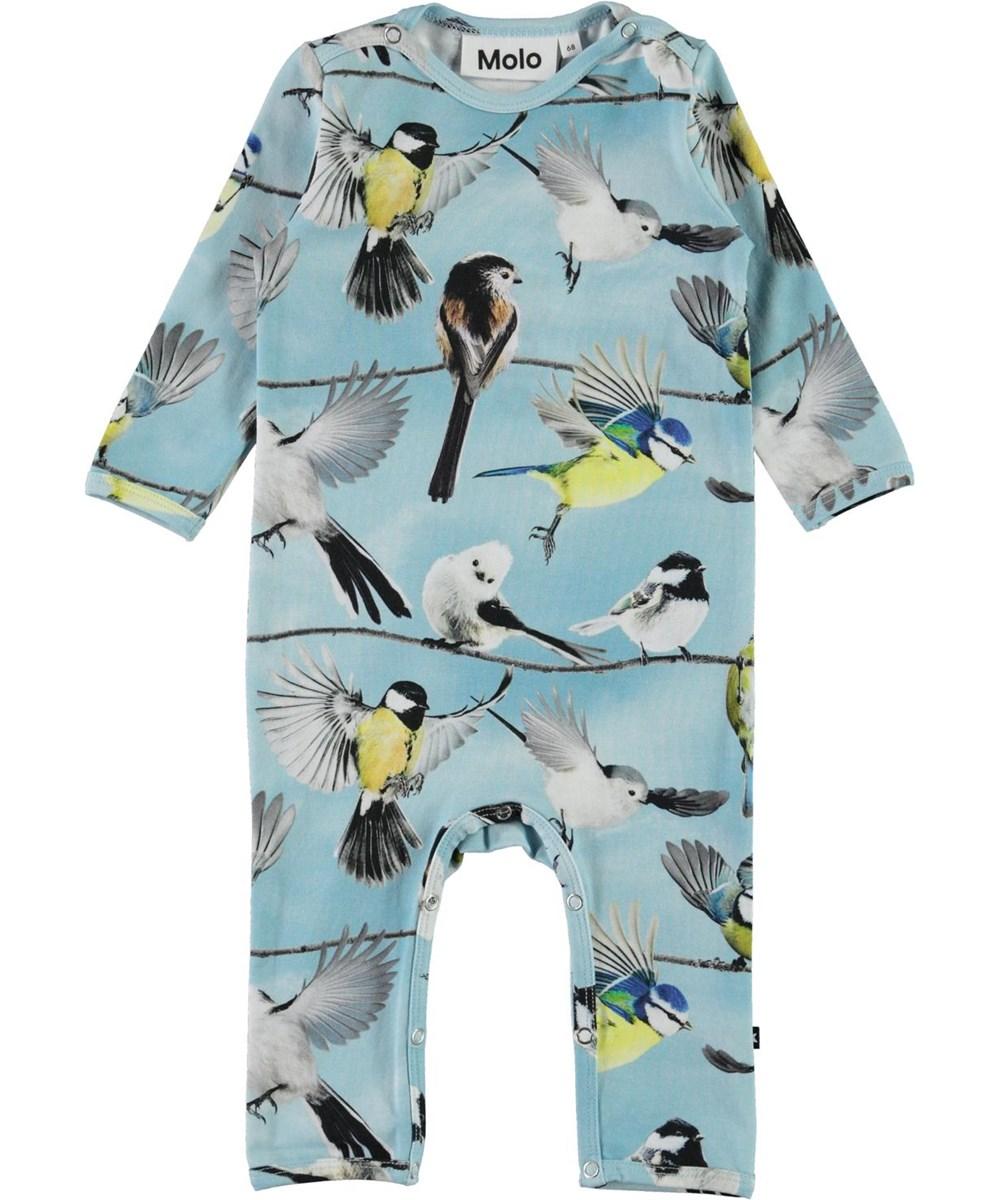 Fenez - Baby Birds - Light blue organic baby bodysuit with birds