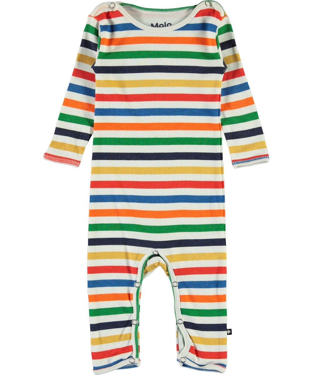 Fenez - Multi Colour - Multi-coloured striped baby bodysuit