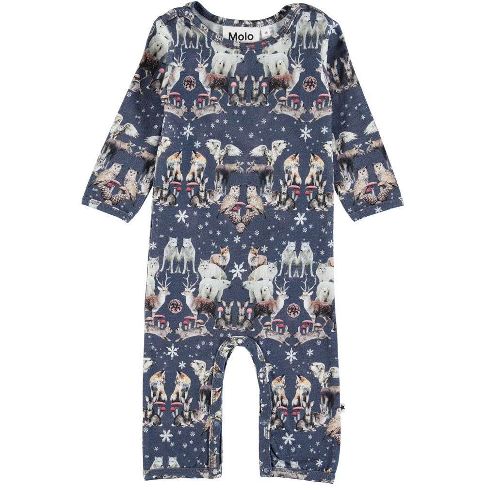 Fenez - Nordic Pattern - Long sleeve, dark blue baby romper with animals