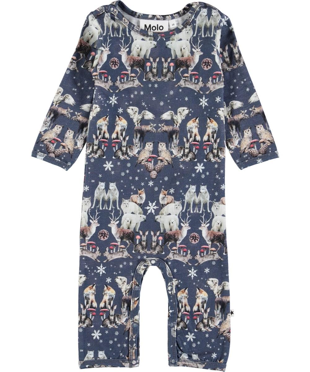 Fenez - Nordic Pattern - Long sleeve, dark blue baby romper with animals
