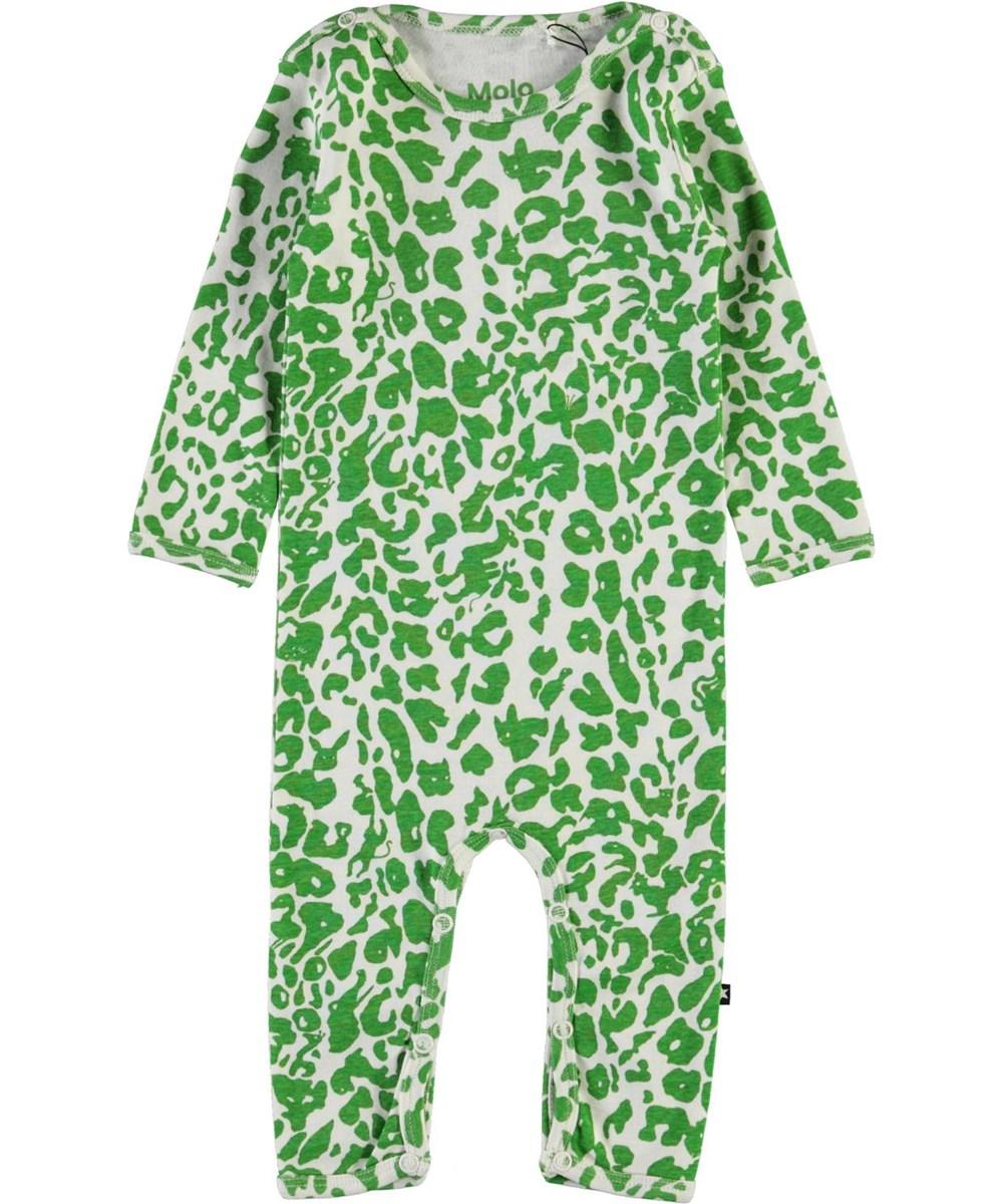 Fenez - Leopard Animals - Green leopard organic baby bodysuit