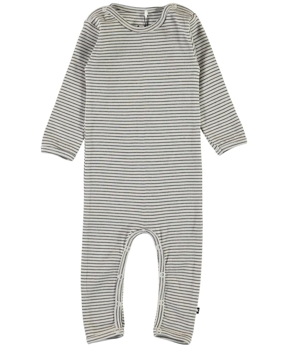 Fenez - White Brown Stripe - Striped rib baby bodysuit