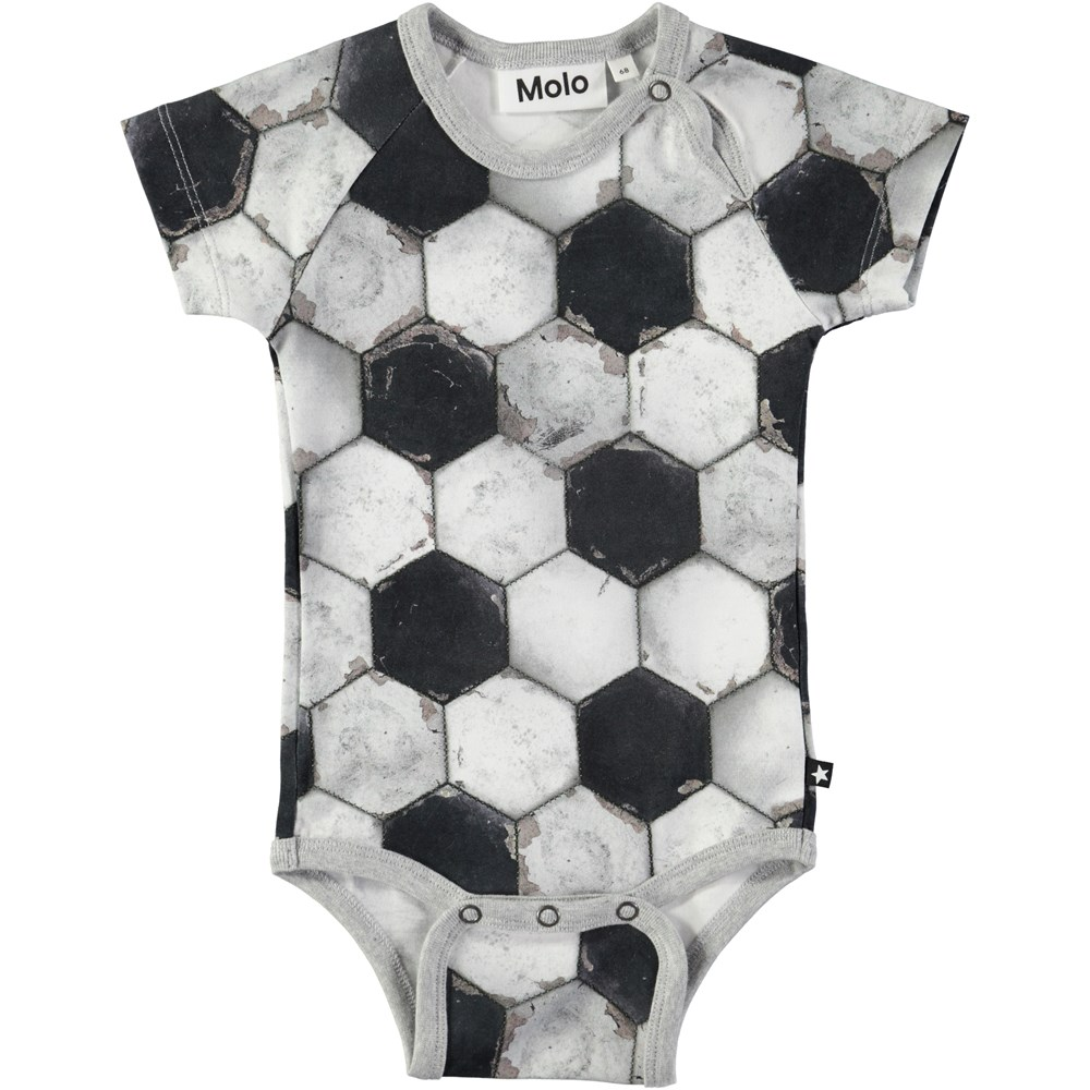 Feodor - Football Structure - Short sleeve baby bodysuit with digital football print