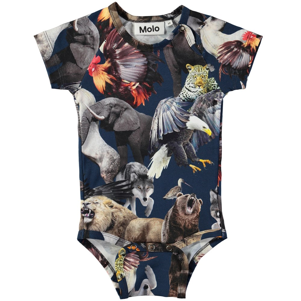 Feodor - National Animals - Short sleeve baby bodysuit with digital print of the world's national animals