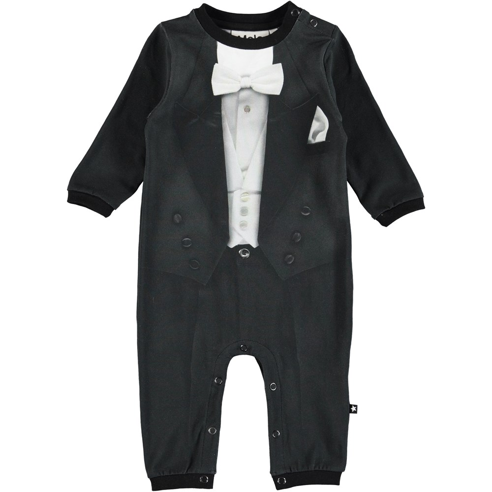 Festlig - Smoking - Long sleeve, black baby romper with suit print