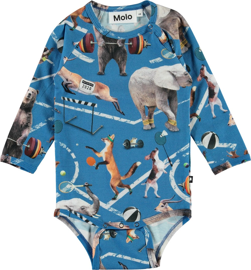 Field - Athletic Animals - Organic baby bodysuit with animals