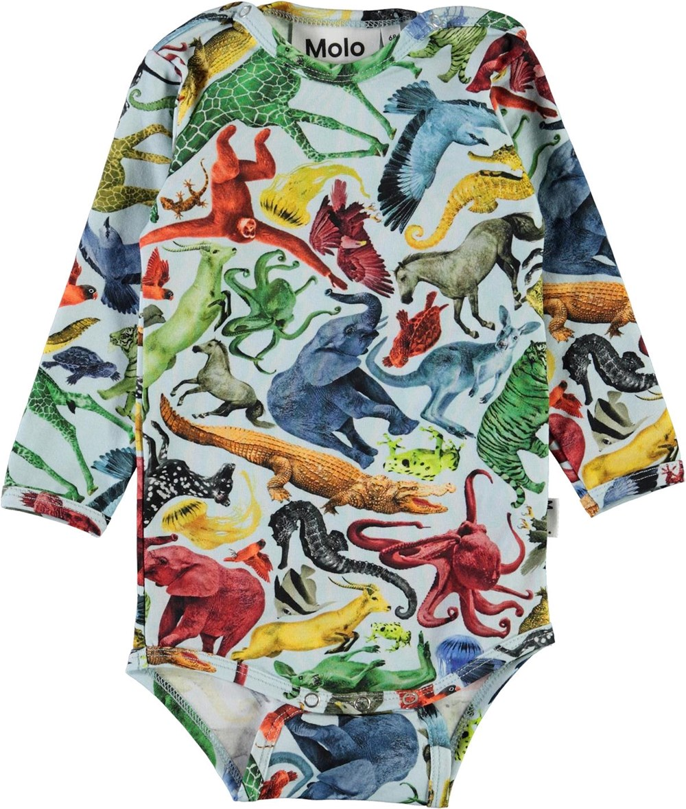 Field - Colourful Animals - Organic baby bodysuit with animal print