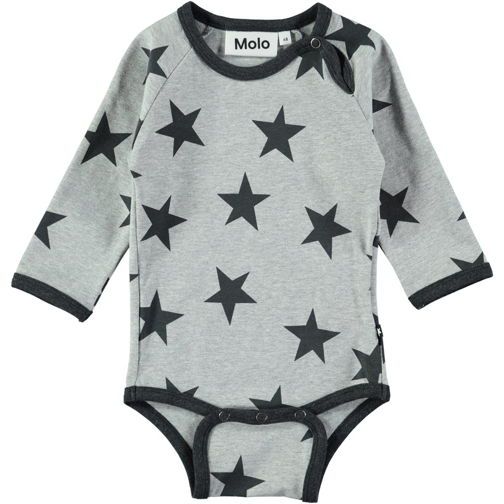 Field - Dark Grey Star Print - Long sleeve, grey baby bodysuit with stars