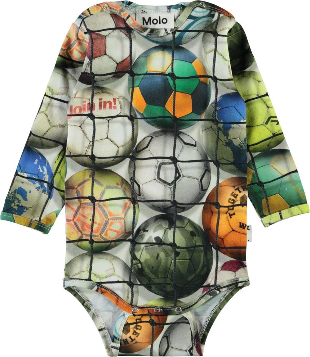 Field - Footballs - Organic baby bodysuit with footballs