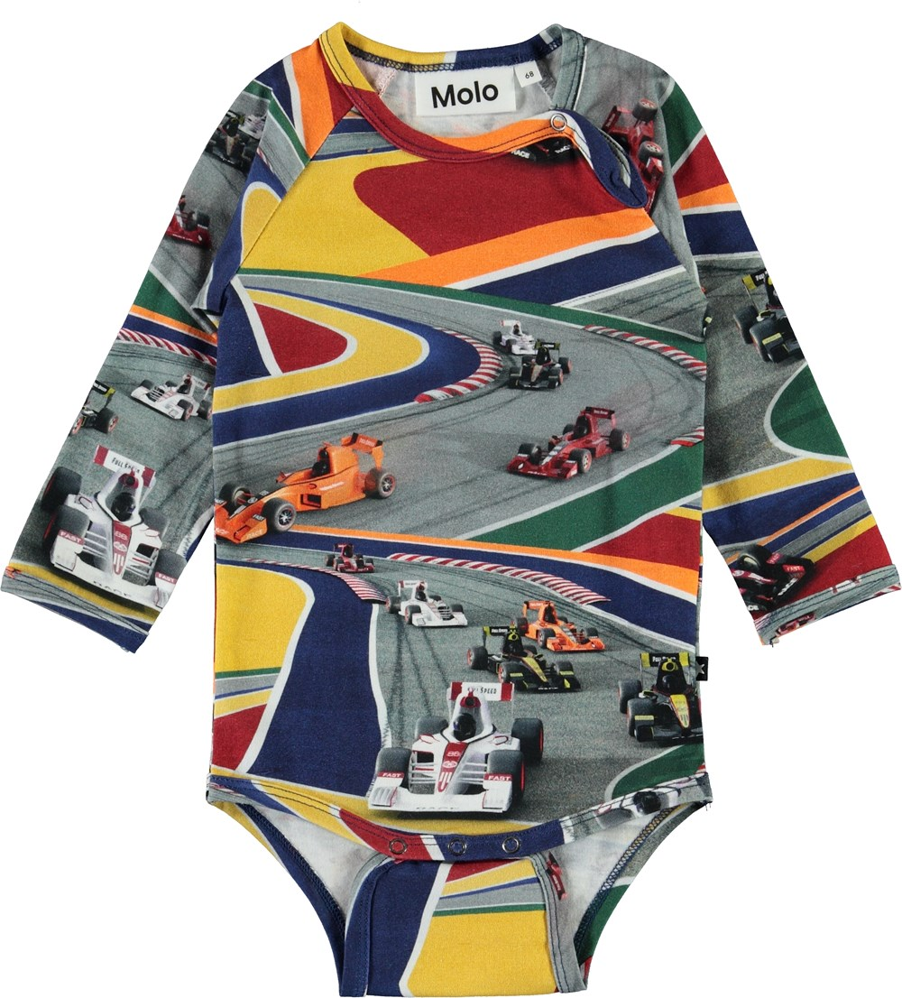 Field - Full Speed - Organic baby bodysuit with race cars