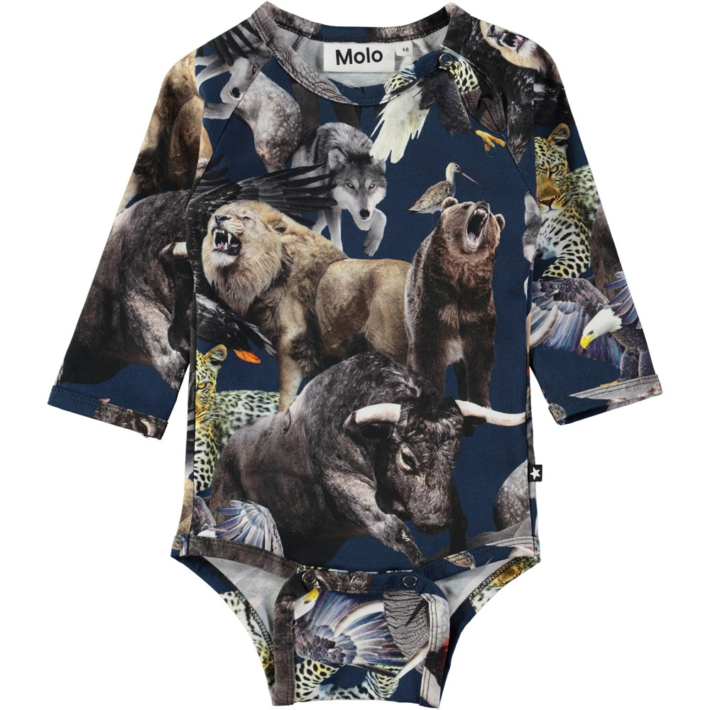 Field - National Animals - Long sleeve, dark blue baby bodysuit with the world's national animals