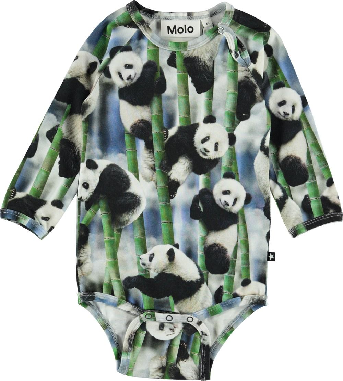 Field - Panda - Organic baby bodysuit with pandas
