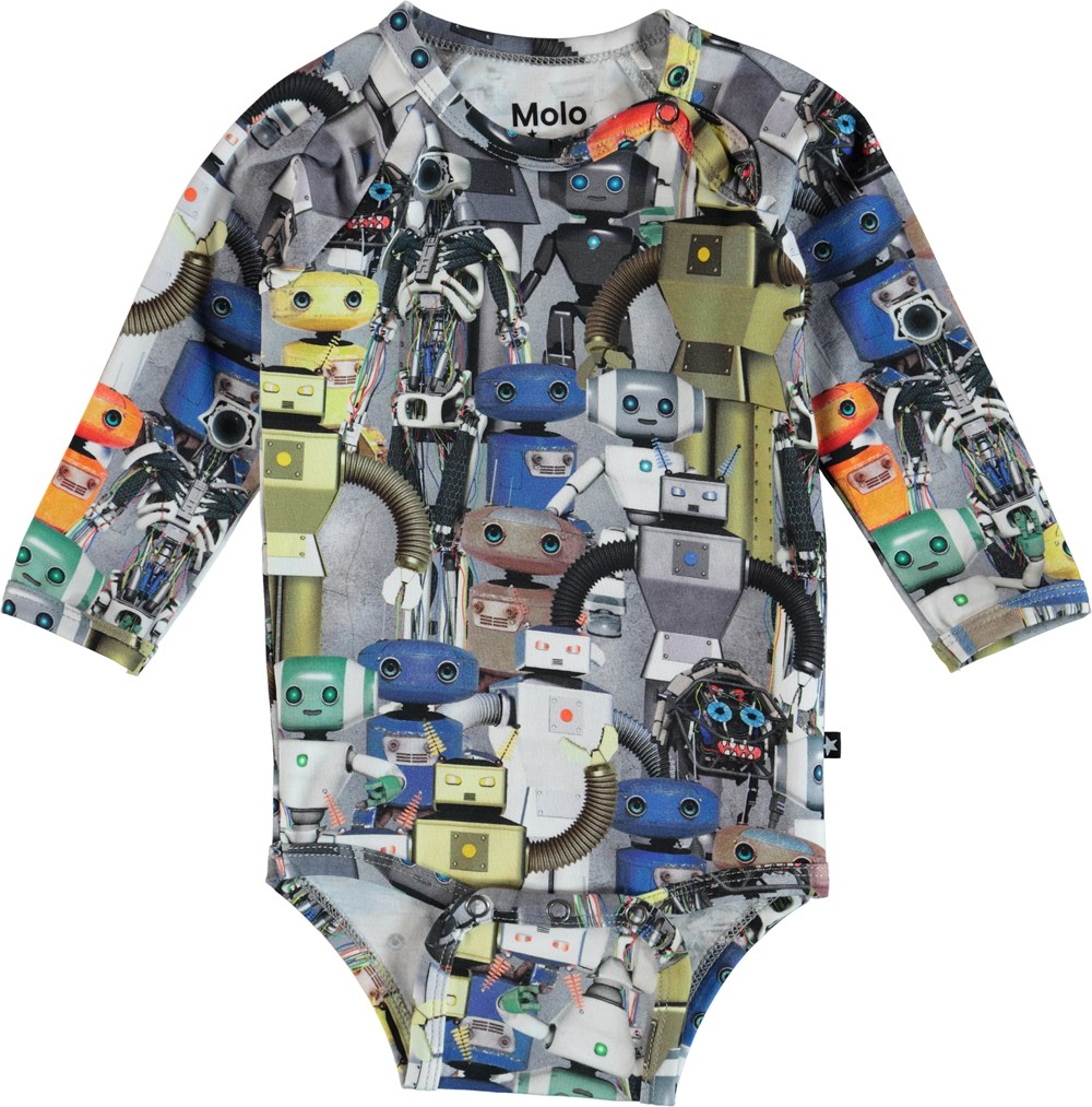 Field - Robots - Long sleeve baby bodysuit with robot print.