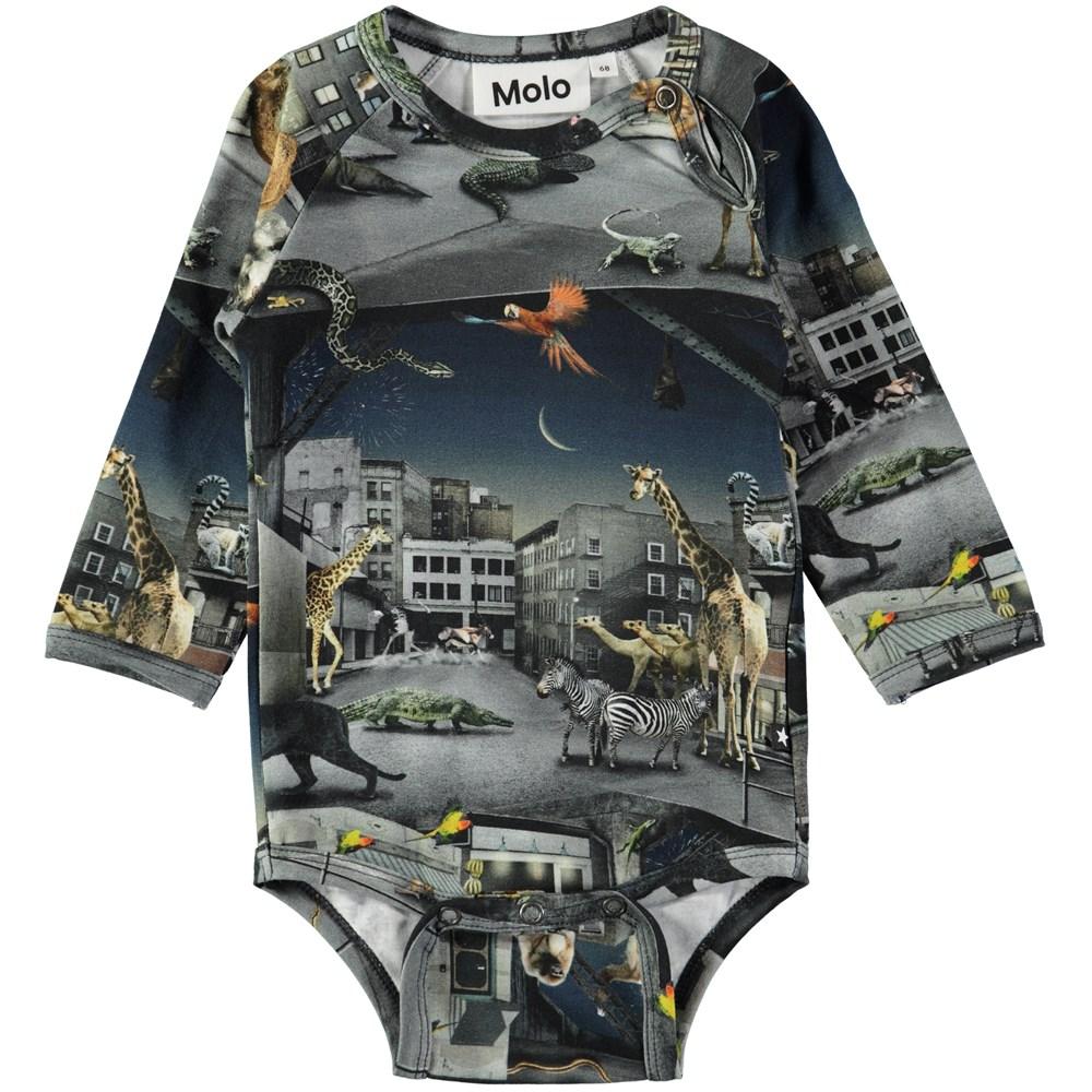 Field - Zoo Rebellion - Long sleeve baby bodysuit with digital zoo print