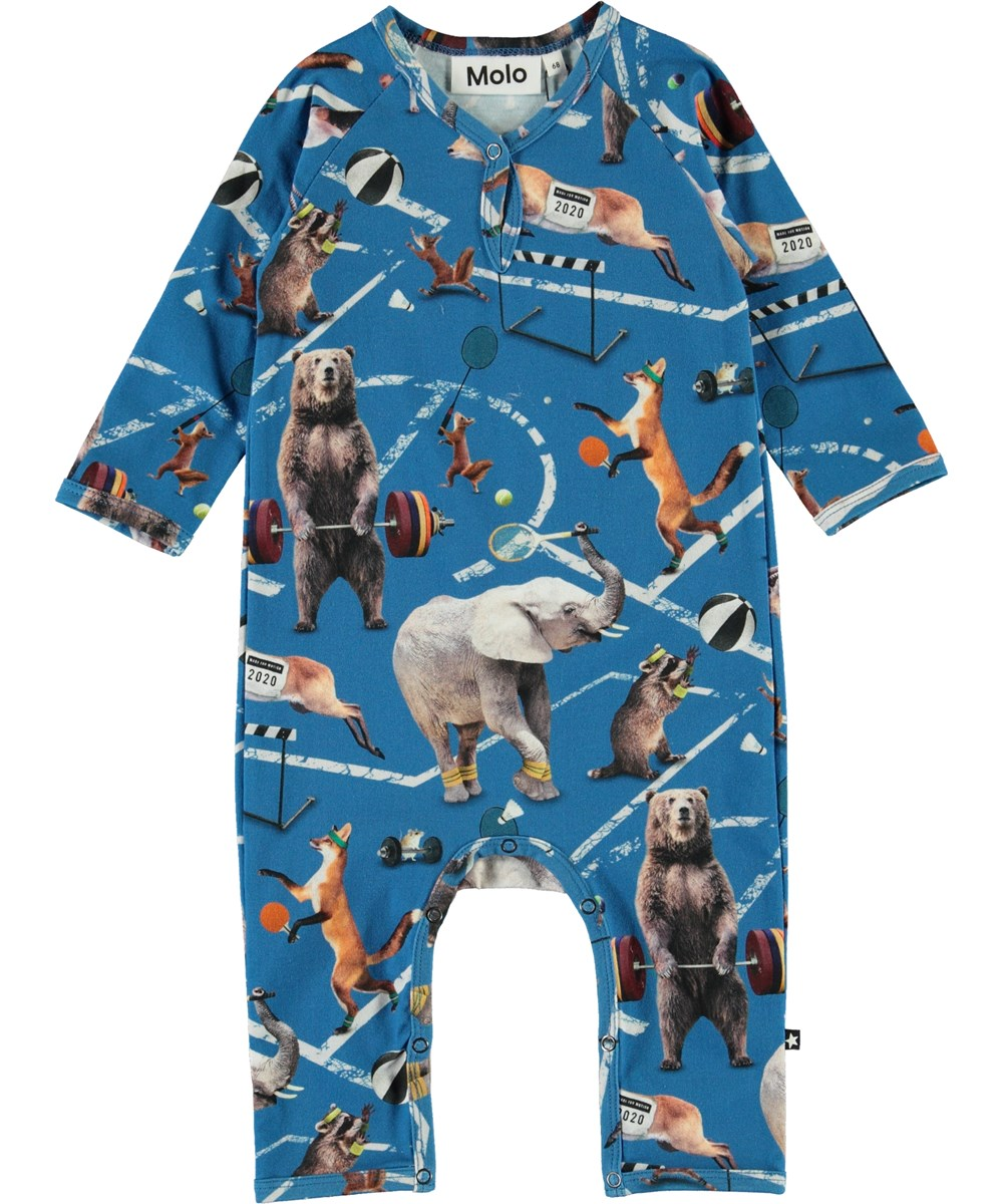 Fleming - Athletic Animals - Organic baby romper with animals