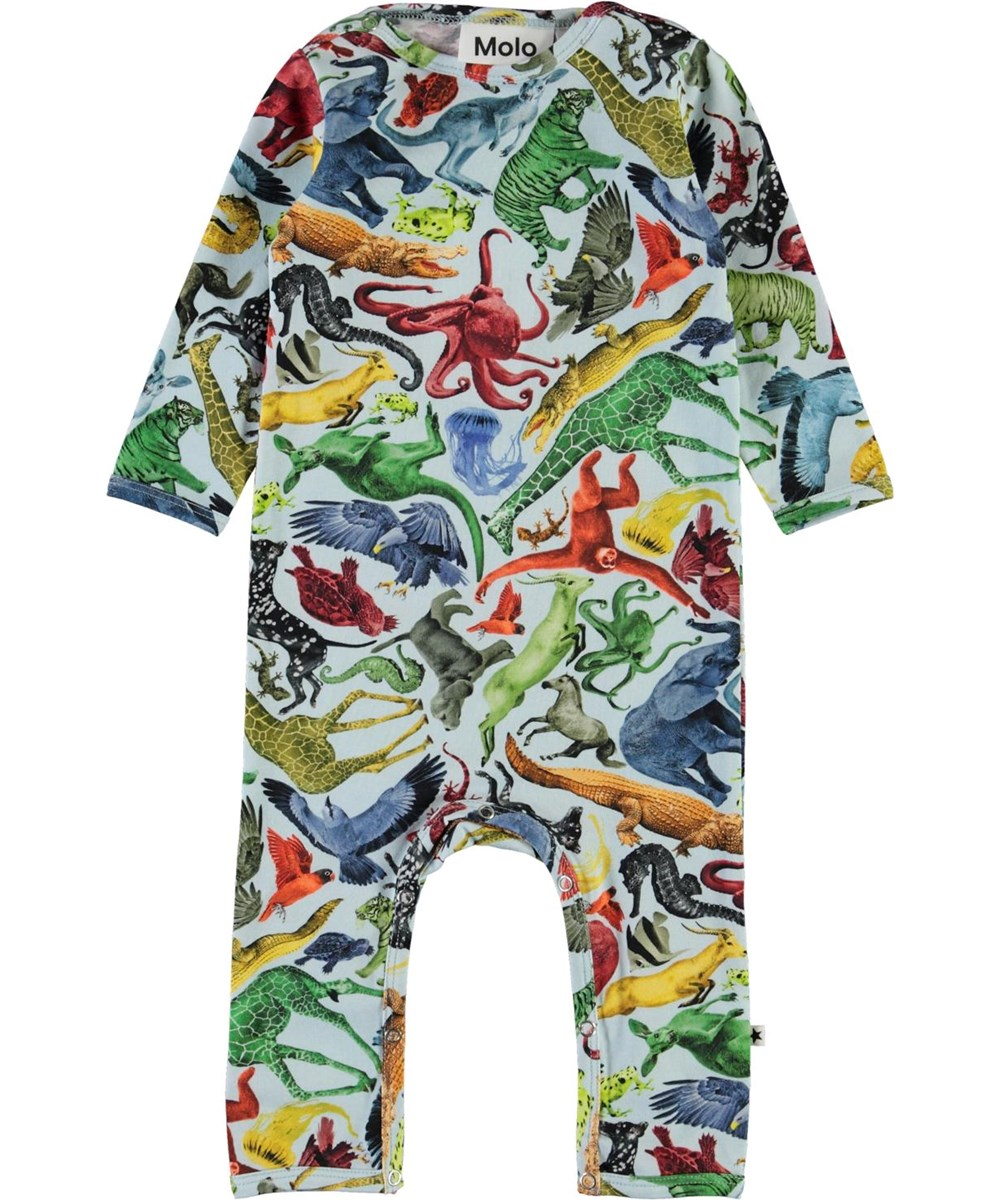 Fleming - Colourful Animals - Light blue baby bodysuit with animal print