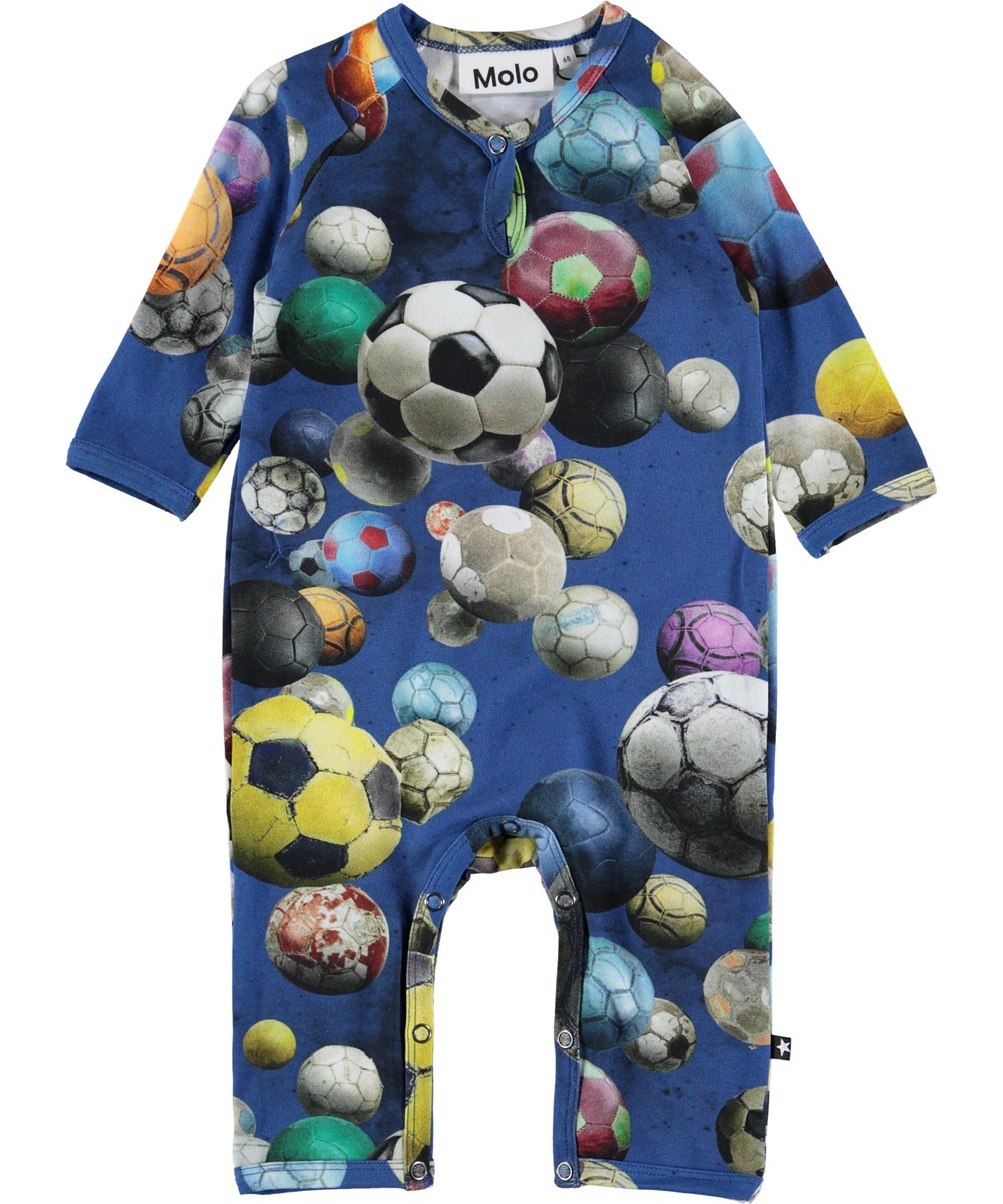 Fleming - Cosmic Footballs - Baby romper with footballs.