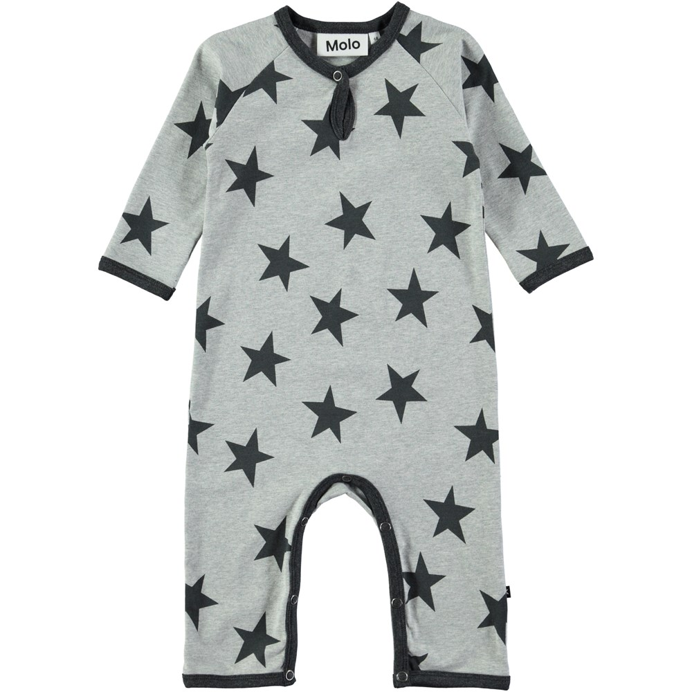 Fleming - Dark Grey Star Print - Grey baby romper with stars