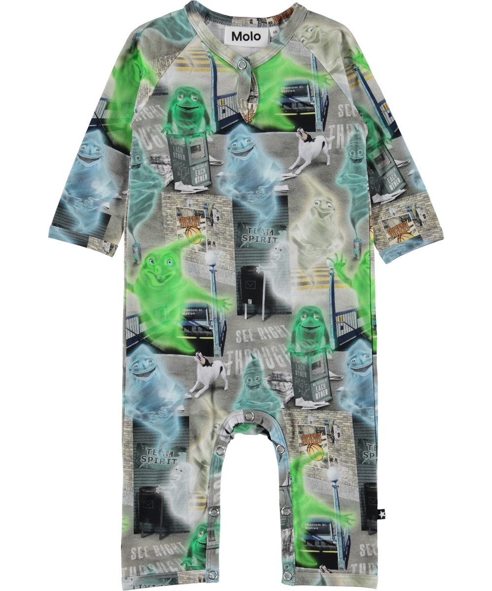 Fleming - Ghost City - Baby romper with ghosts.