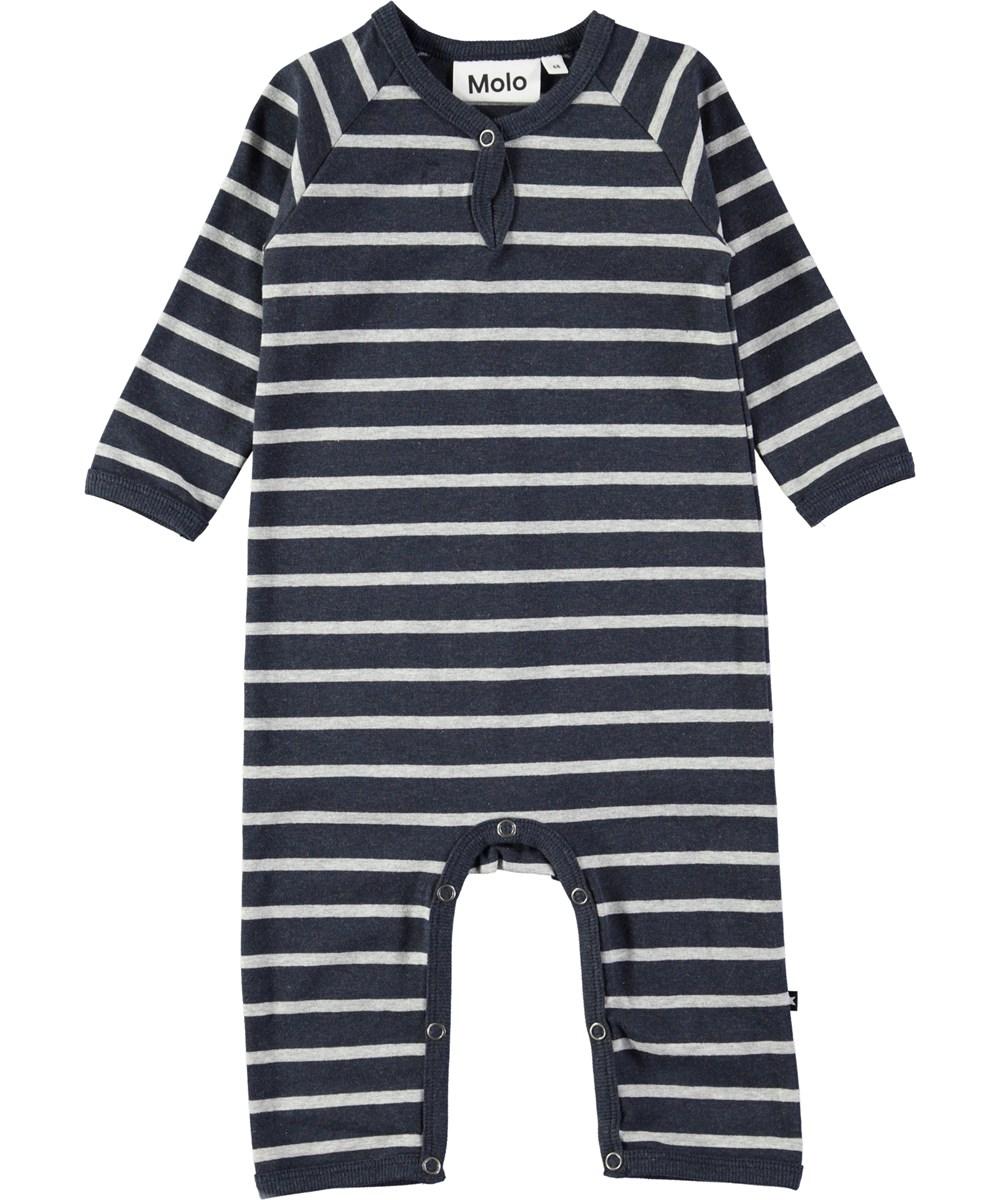 Fleming - Melange Stripe - Dark blue baby romper with stripes