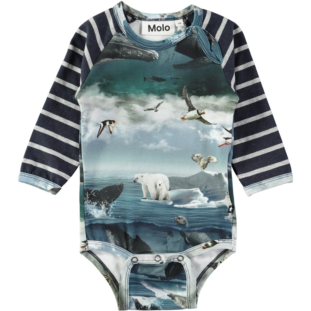 Floyd - Arctic Landscape - Long sleeve baby bodysuit with digital arctic landscape print