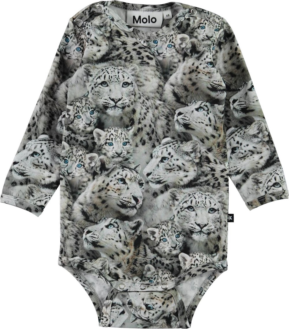 Foss - Baby Leopards - Organic baby bodysuit with snow leopard print