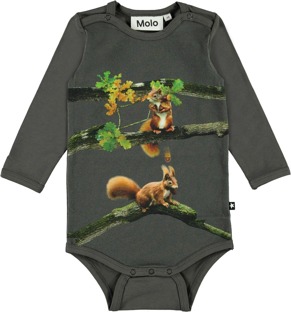 Foss - Baby Squirrel - Green organic baby bodysuit with squirrel