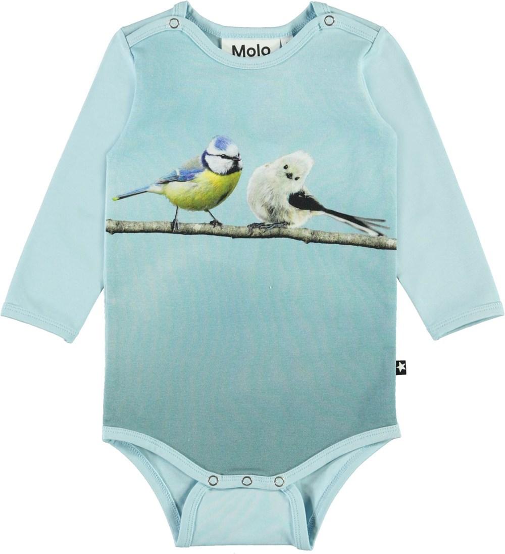 Foss - Birdie Friends - Light blue organic baby bodysuit with birds
