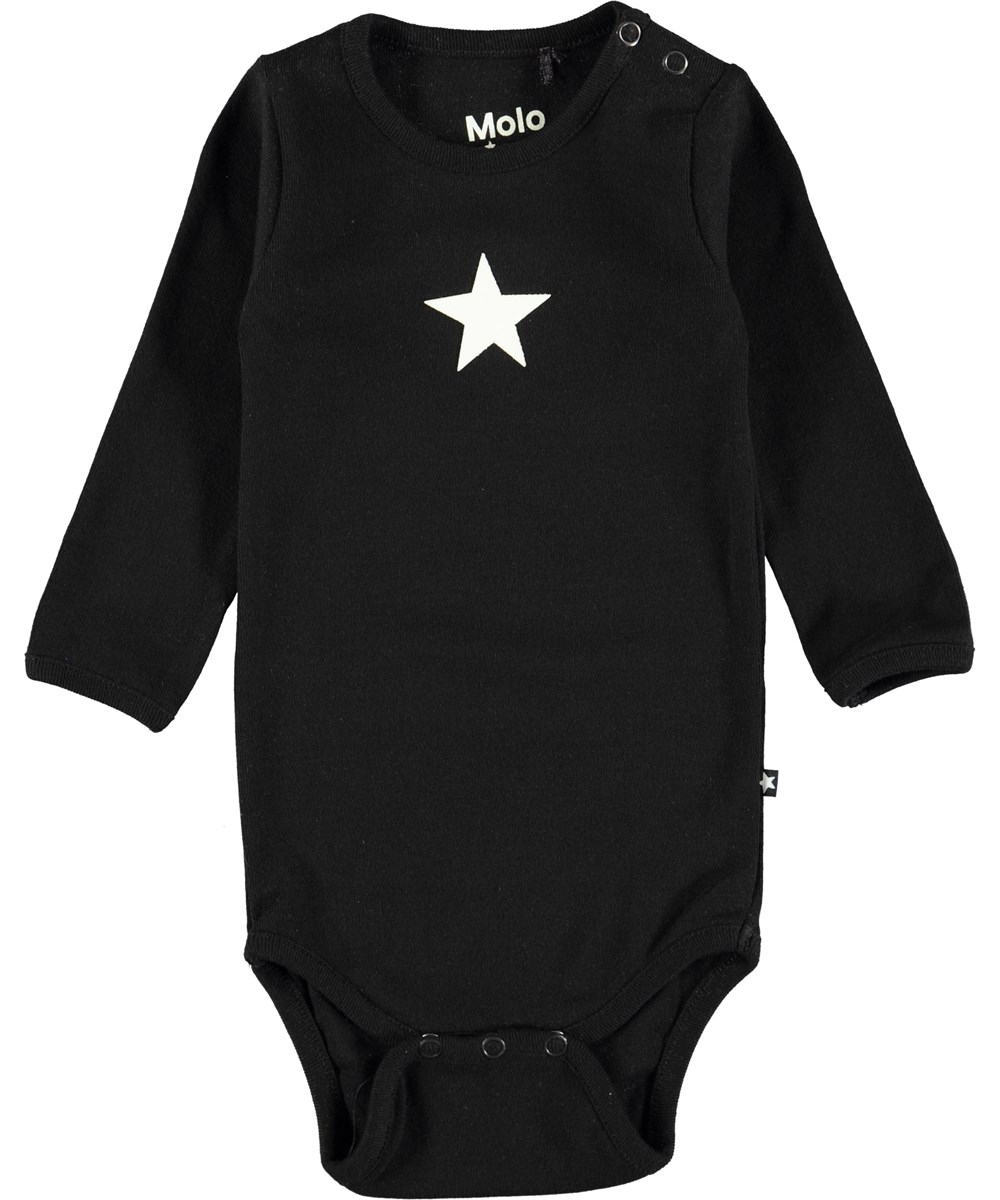 Foss - Black - Long sleeve, black baby bodysuit with printed star