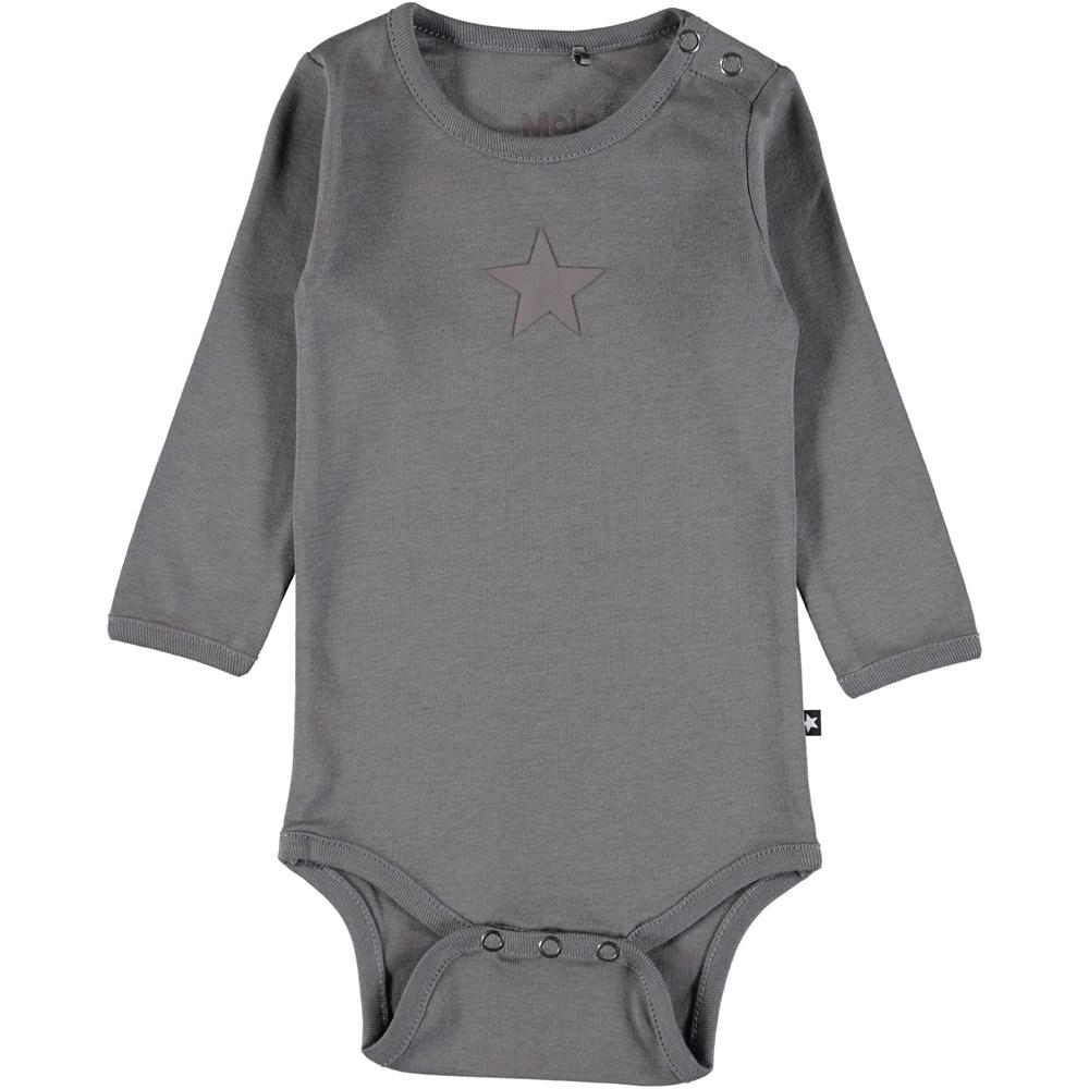 Foss - Dark Grey - Long sleeve, dark grey baby bodysuit with printed star