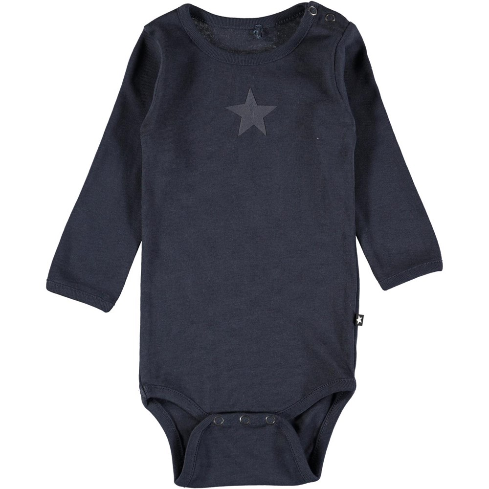 Foss - Dark Navy - Long sleeve, dark blue baby bodysuit with printed star