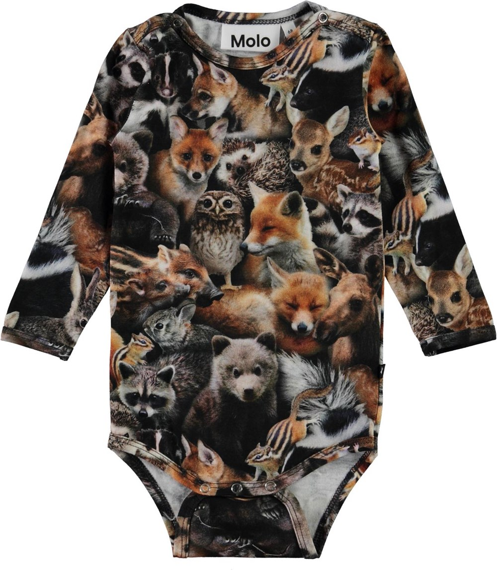 Foss - Forest Animals - Organic baby bodysuit with animal print
