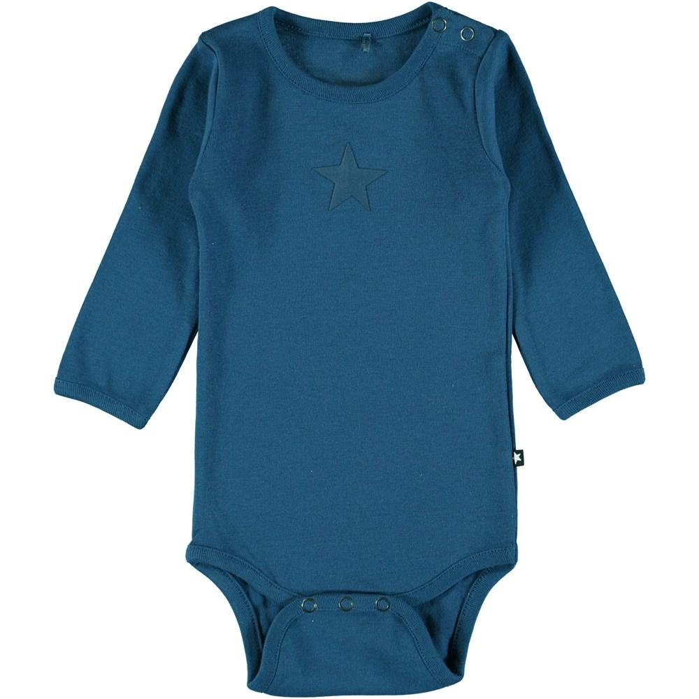 Foss - Indigo - Long sleeve, blue baby bodysuit with printed star