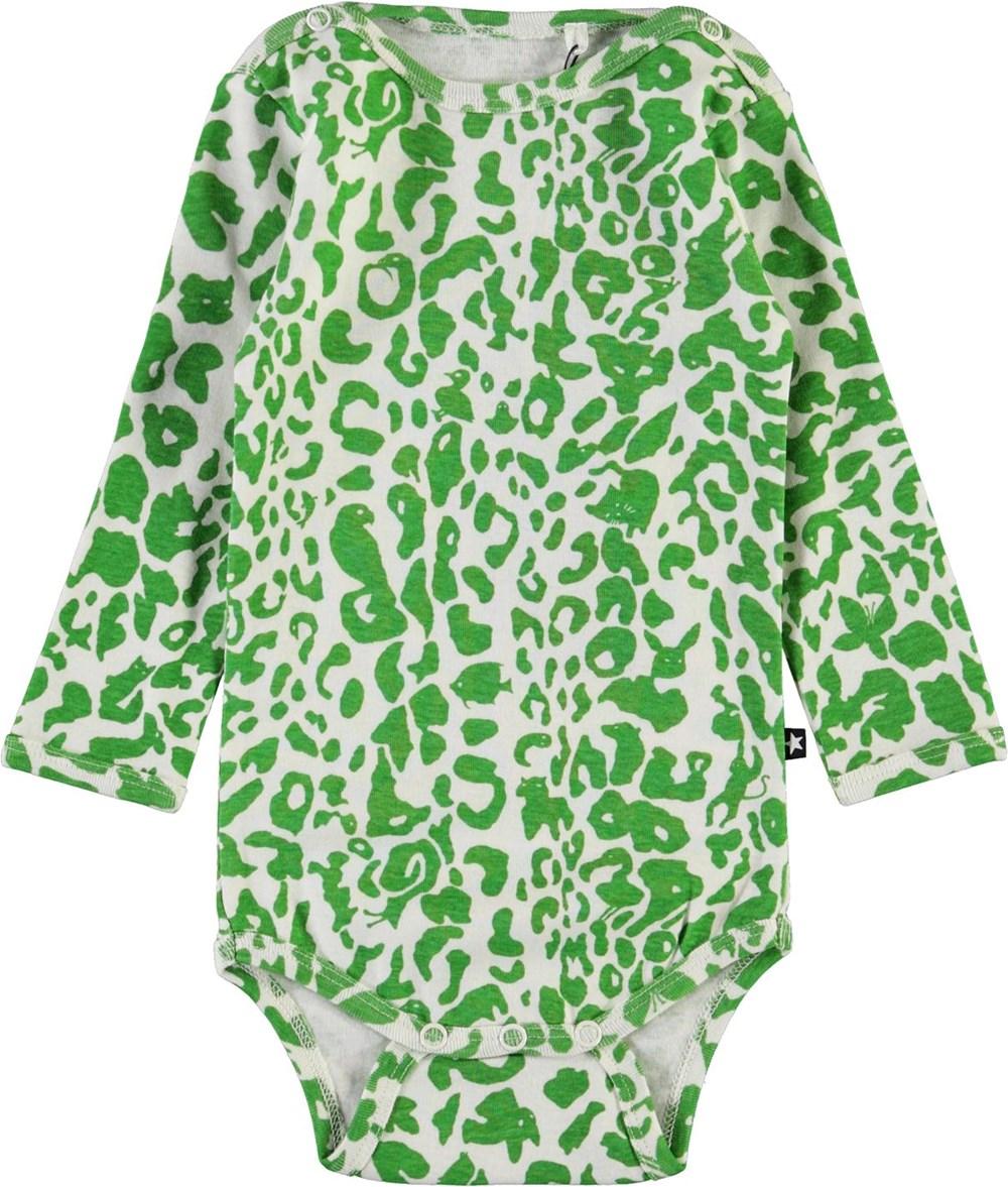 Foss - Leopard Animals - Green organic leopard baby bodysuit