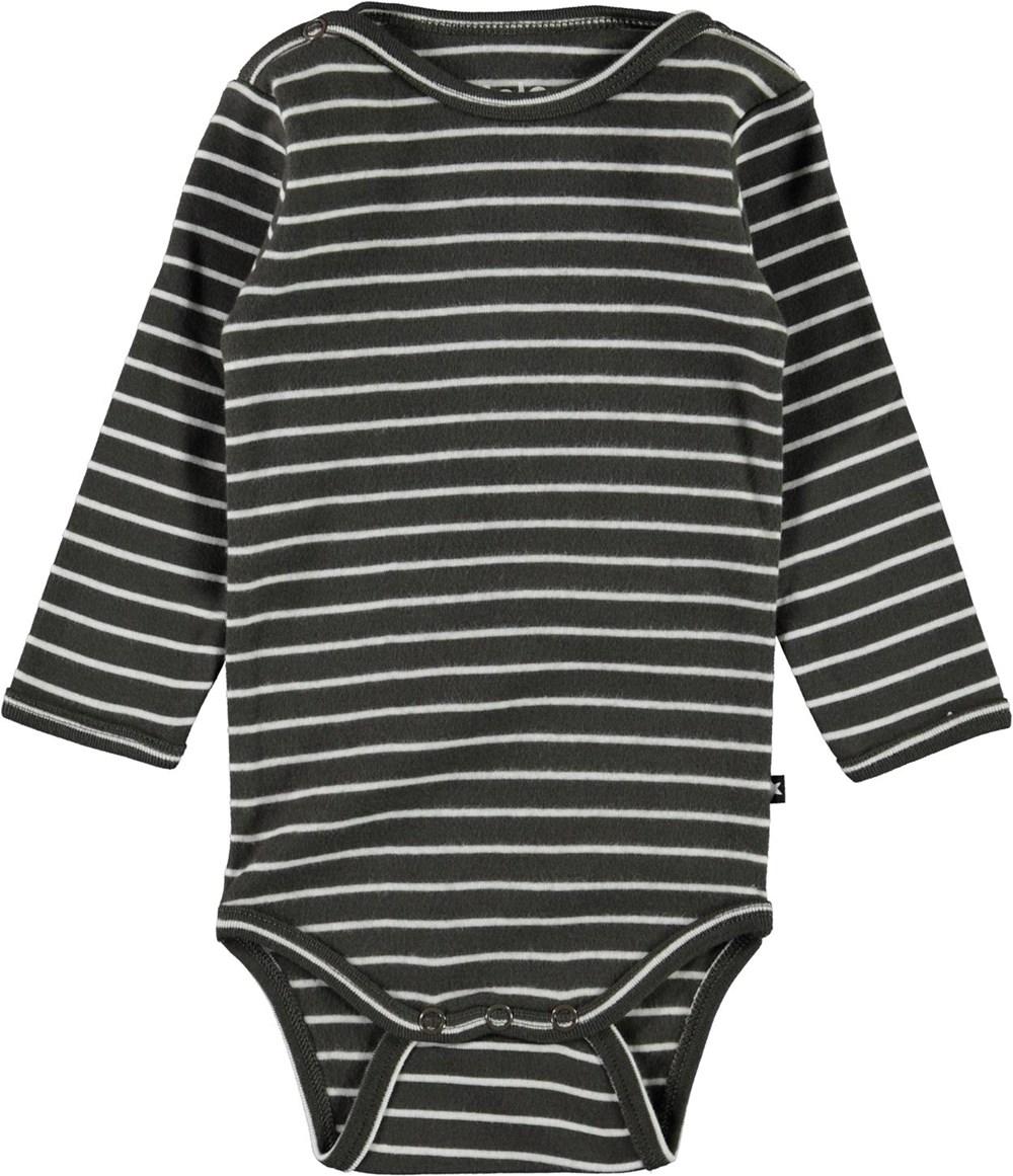 Foss - Narrow Stripe - Grey organic baby bodysuit with stripes