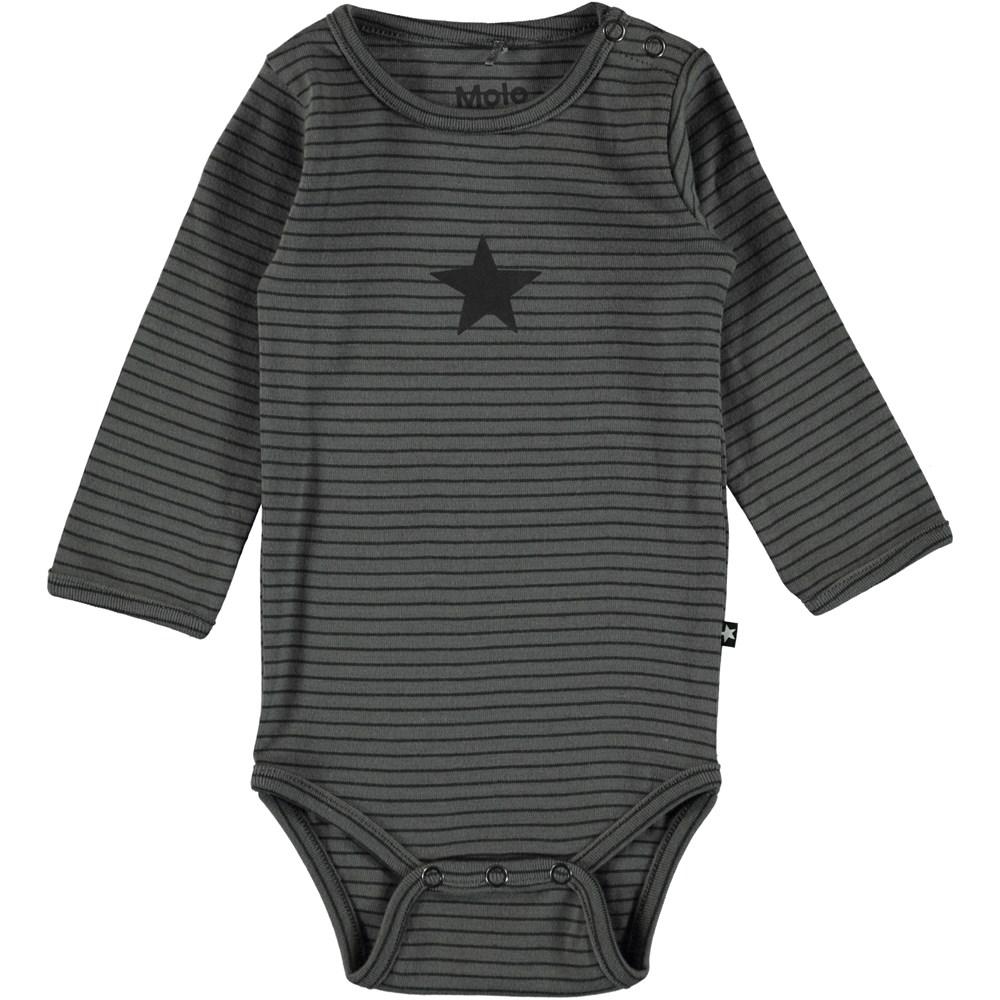 Foss - Pewter Stripe - Long sleeve striped baby bodysuit.