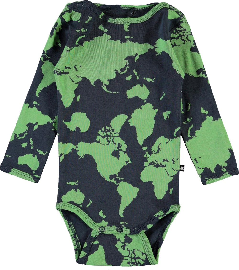 Foss - Small World - Organic baby bodysuit with map of the world