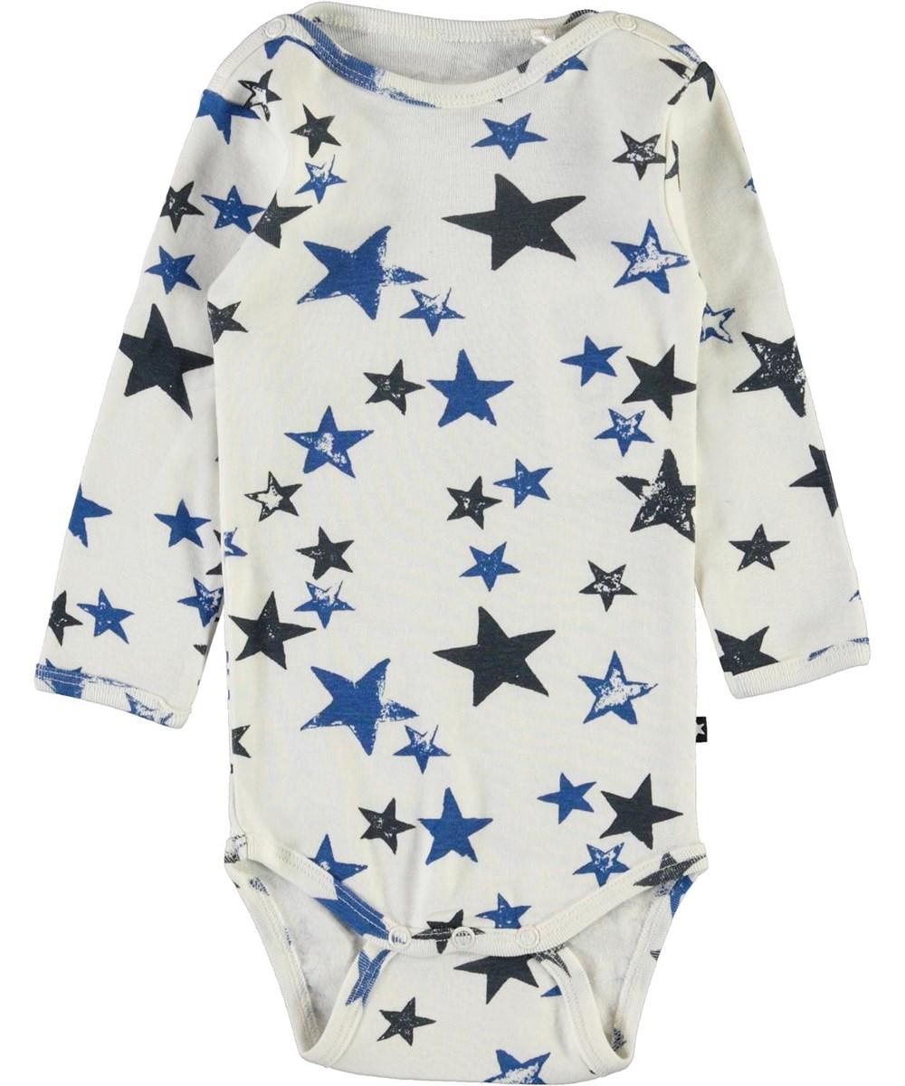 Foss - Stars - White organic baby bodysuit with stars