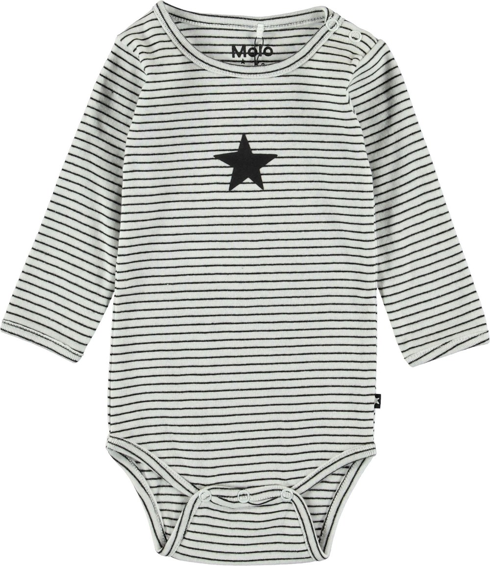Foss - Black`N White Stripe - Striped baby bodysuit.