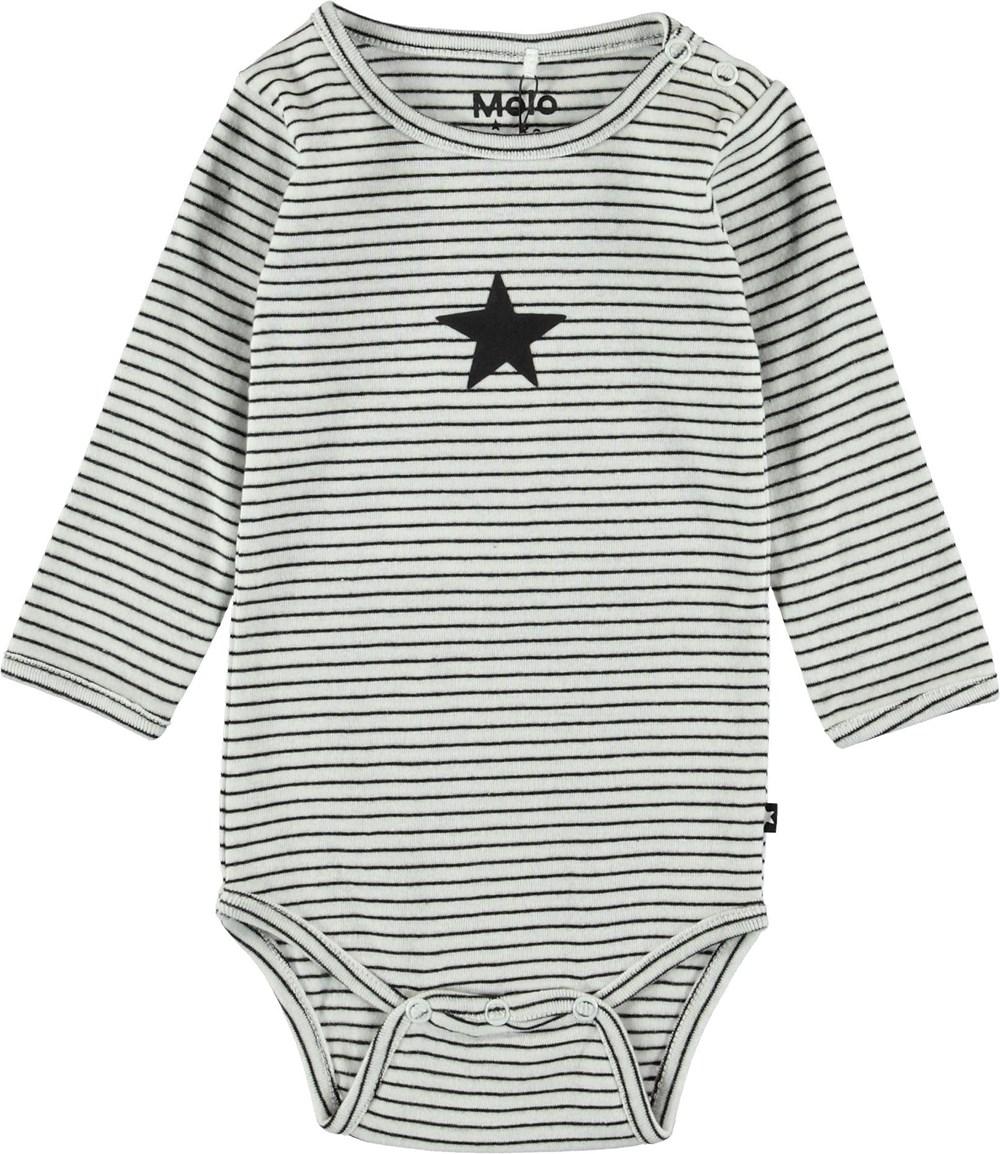Foss - Black`N White Stripe - Striped baby bodysuit.