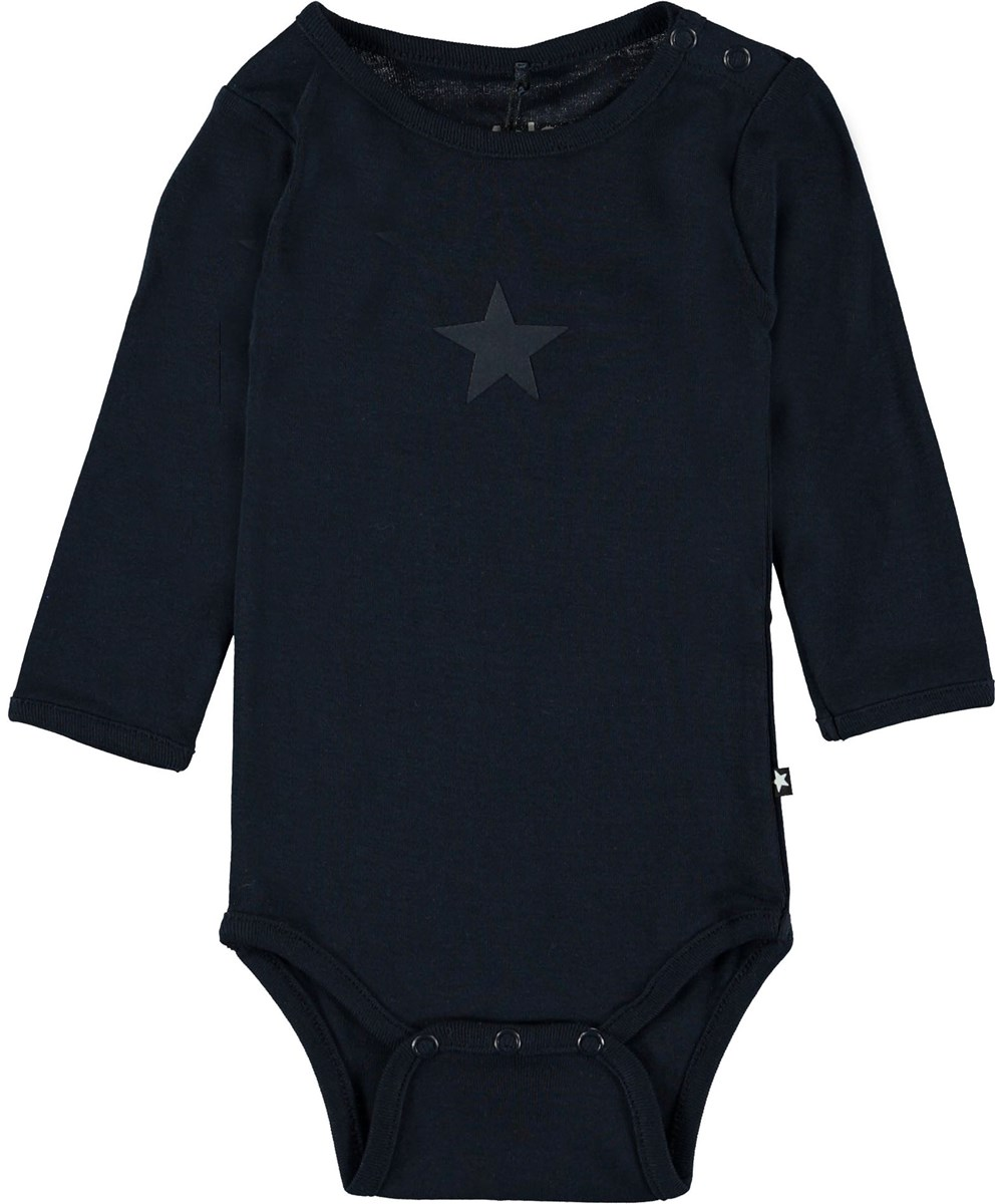Foss - Carbon - Dark blue baby bodysuit.