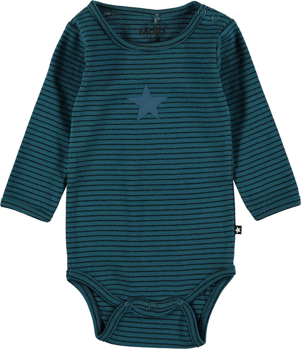 Foss - Frozen Deep Stripe - Striped baby bodysuit.