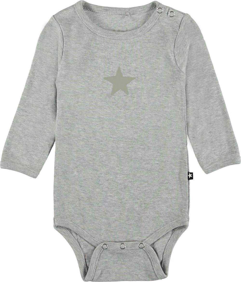 Foss - Light Grey Melange - Grey baby bodysuit.