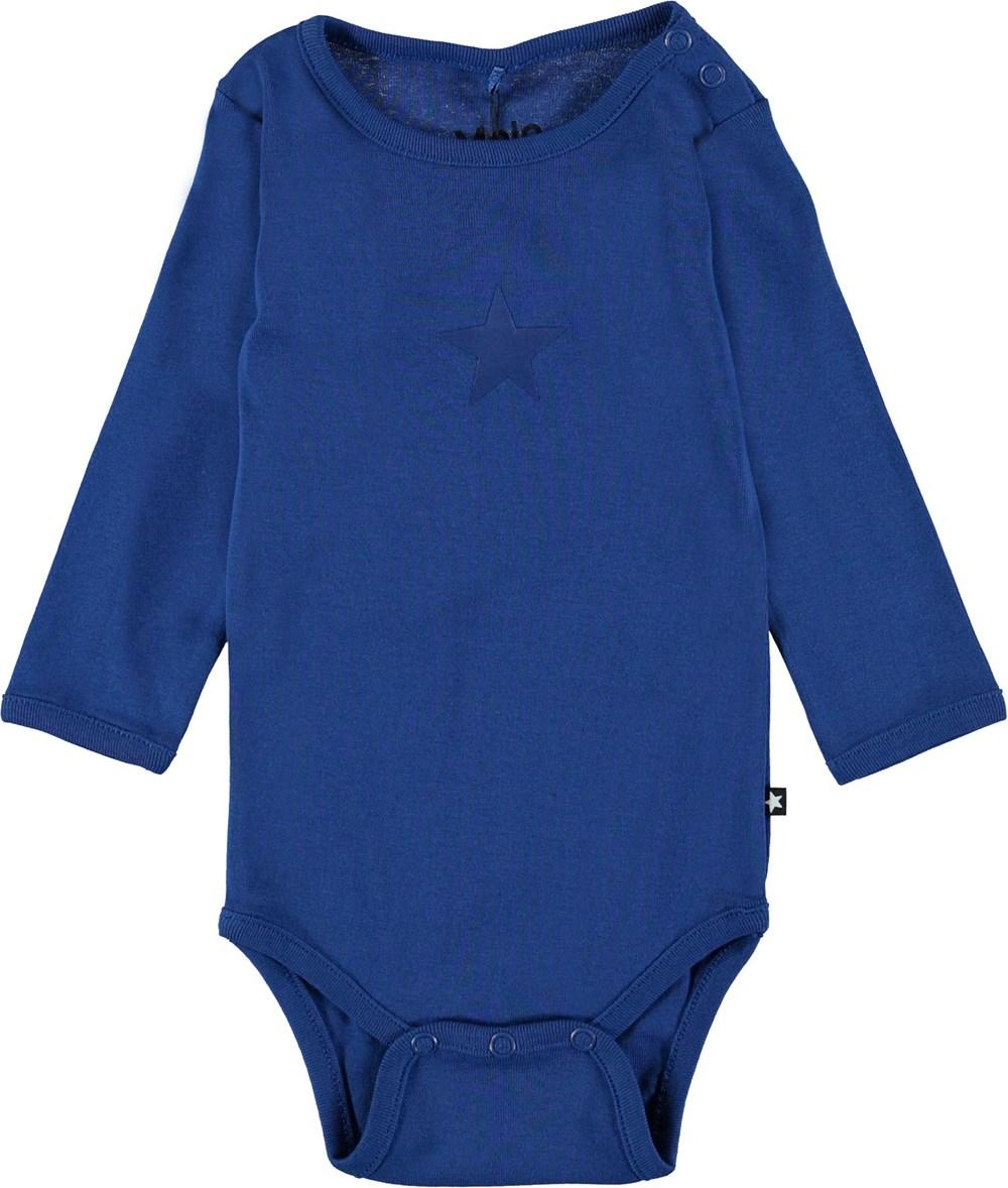 Foss - True Blue - Blue baby bodysuit.