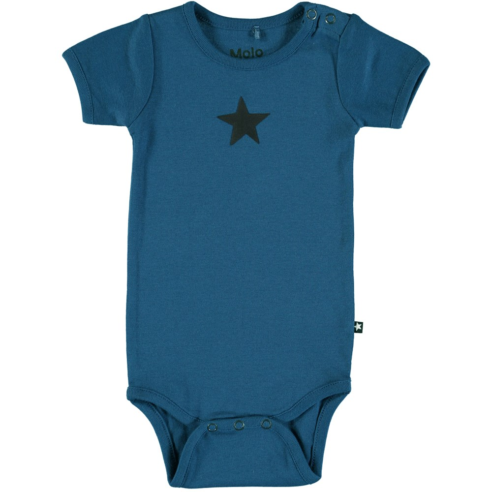 Fossie - Indigo - Short sleeve, dark blue baby bodysuit with printed star
