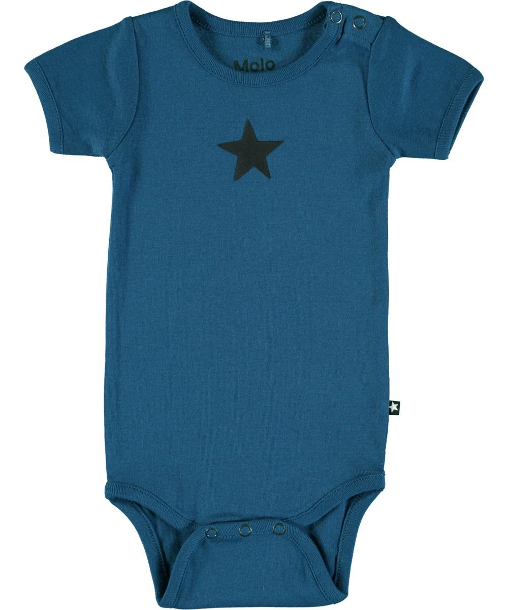 Fossie - Indigo - Short sleeve, dark blue baby bodysuit with printed star