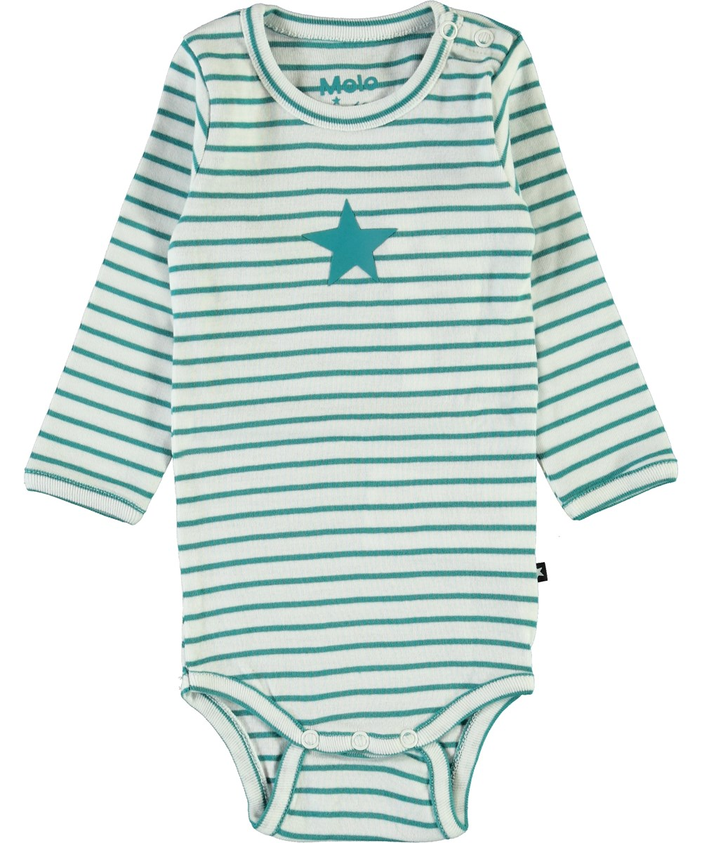 Foss - Kerosene Stripe - Organic green striped baby bodysuit